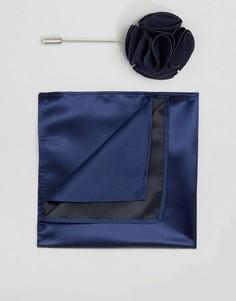 Платок для пиджака и булавка на лацкан Gianni Feraud - Темно-синий