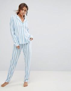 Пижамная рубашка и брюки в полоску из ткани шамбре ASOS - Мульти