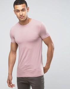 Розовая эластичная обтягивающая футболка с круглым вырезом ASOS - Розовый