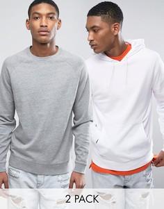 Серый меланжевый свитшот и худи белого цвета ASOS - Мульти