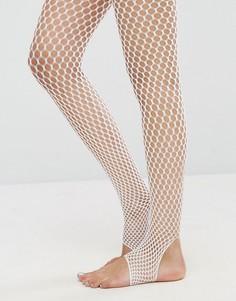 Белые сетчатые колготки со штрипками ASOS - Белый