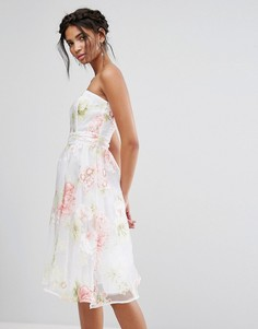 Платье-бандо миди из органзы с цветочным принтом Elise Ryan - Мульти