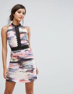 Платье мини с кружевными вставками Little Mistress - Мульти