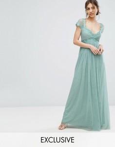 Платье макси с завышенной талией и кружевной отделкой Little Mistress - Зеленый