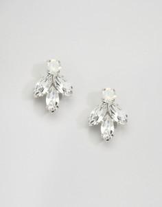 Серьги с кристаллами Swarovski в форме листьев Krystal London - Серебряный