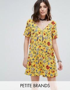 Яркое чайное платье на пуговицах с цветочным принтом Glamorous Petite - Мульти