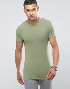 Обтягивающая футболка с круглым вырезом ASOS - Зеленый