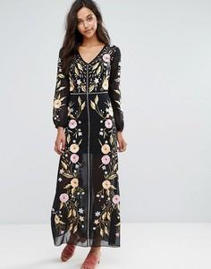 Платье макси с вышивкой Miss Selfrdige - Синий