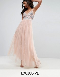 Платье макси из тюля с вышивкой Needle & Thread Whisper - Розовый
