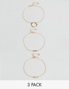 3 браслета с кольцом и опалом ASOS - Золотой