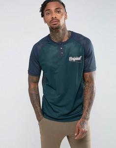 Свободная сетчатая футболка с горловиной на пуговицах и принтом на груди ASOS - Зеленый