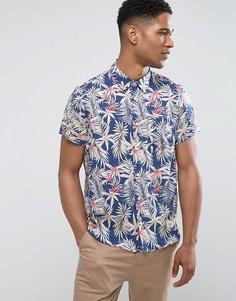 Узкая рубашка с короткими рукавами и цветочным принтом Burton Menswear - Темно-синий