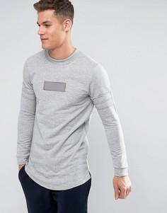 Удлиненный свитшот с асимметричным подолом Jack & Jones - Серый