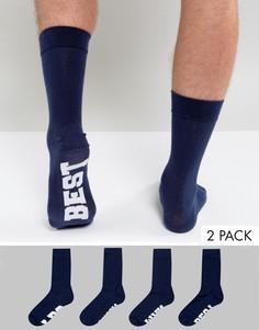 Набор из 2 пар носков с отделкой ASOS Wedding - Темно-синий