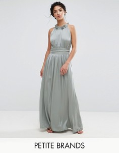 Платье макси для выпускного с плиссированной отделкой Little Mistress Petite - Зеленый