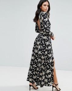 Черно-белое платье макси с разрезами Liquorish - Мульти