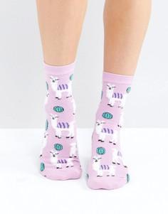 Пушистые носки с ламой ASOS - Розовый