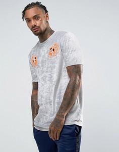 Бархатная футболка с вышитыми черепами ASOS - Серебряный