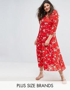 Чайное платье макси с цветочным принтом Alice & You - Красный
