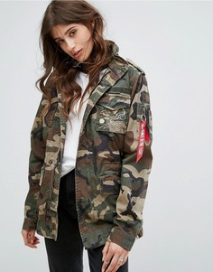 Куртка с драконом Alpha Industries Huntington - Коричневый