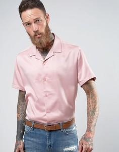 Розовая сатиновая oversize-рубашка с отложным воротником ASOS - Розовый