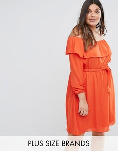 Платье с открытыми плечами и оборками Lovedrobe - Оранжевый