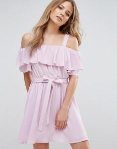 Платье с оборкой и поясом Miss Selfridge - Фиолетовый