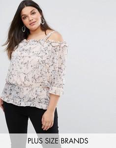 Блузка с открытыми плечами и цветочным принтом Lovedrobe - Мульти