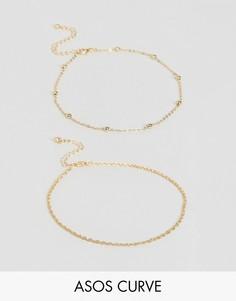 Набор из 2 браслетов на щиколотку ASOS CURVE - Золотой