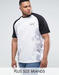 Белая бейсбольная футболка с цветочным принтом Jacamo PLUS - Белый