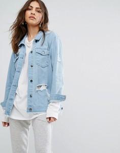 Состаренная джинсовая куртка с необработанным краем Daisy Street - Синий