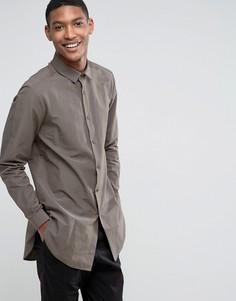 Удлиненная рубашка хаки классического кроя ASOS - Зеленый