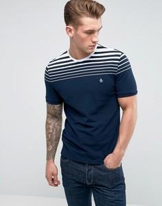 Темно-синяя облегающая футболка в градиентную полоску Original Penguin - Темно-синий