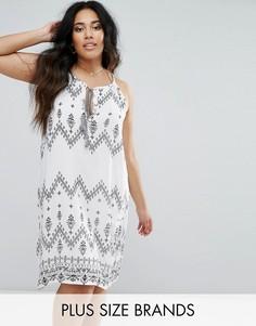 Платье с завязкой на шее принтом Diya - Белый
