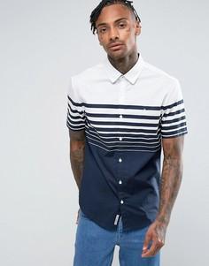 Рубашка в темно-синюю градиентную полоску с коротким рукавом Original Penguin - Темно-синий