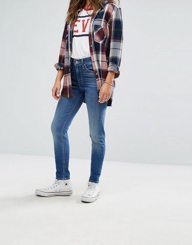 Зауженные джинсы с высокой талией Levis 721 - Синий