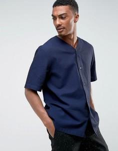 Трикотажная рубашка на пуговицах Weekday Telly - Темно-синий