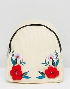 Соломенный рюкзак с цветами и помпонами Skinnydip - Бежевый