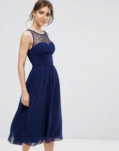Платье миди с отделкой Little Mistress - Темно-синий
