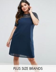 Цельнокройное платье с отделкой на топе и рукавах Lovedrobe Luxe - Темно-синий