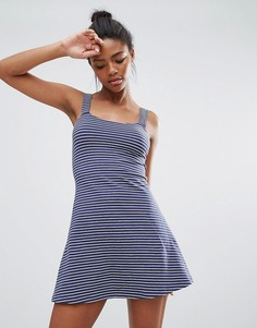 Трапециевидное платье в полоску Brave Soul Gwen - Темно-синий