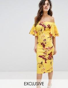 Платье-футляр с открытыми плечами и принтом True Violet - Желтый