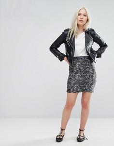 Мини-юбка с принтом Зебра b.Young - Серый