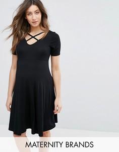Короткое приталенное платье для беременных New Look - Черный