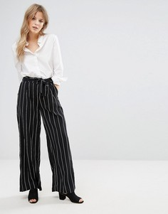 Брюки в полоску с широкими штанинами New Look - Черный
