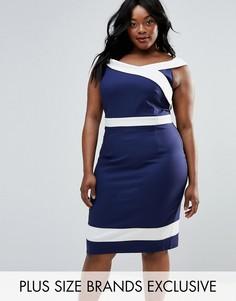 Платье-футляр с широким вырезом Paper Dolls Plus - Темно-синий