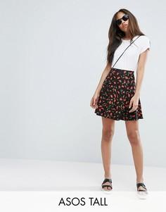 Короткая расклешенная юбка с цветочным принтом ASOS TALL - Мульти