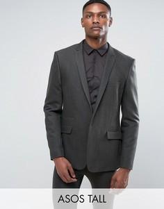 Зеленый облегающий пиджак из ткани с добавлением шерсти ASOS TALL - Зеленый