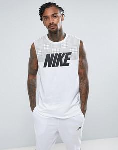 Белая майка с крупным логотипом Nike Advanced Knit 15 847648-100 - Белый