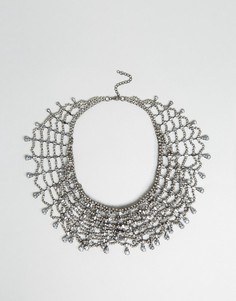 Броское многорядное ожерелье со стразами Love Rocks - Серебряный